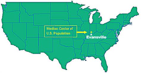 Median Center Of US Population - Us half pop map